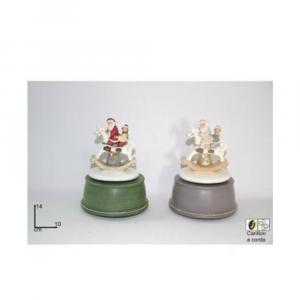 Due Esse Carillon con Babbo Natale E Bambino su Cavallo A Dondolo