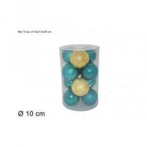 Due Esse Confezione Natalizia 12 Pezzi Palline Decorative 10 cm Verde/Oro