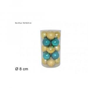 Due Esse Confezione Natalizia 20 Pezzi Palline Decorative 8 cm Verde/Oro