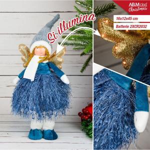 Bambola Angioletto con Ali dorate gonna blu 16x12x45 cm