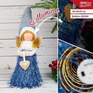 Bambola Angioletto con luci con Ali dorate gonna blu 10x10x35 cm