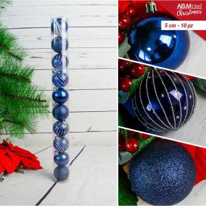 Tubo con n. 10 palline in plastica cm5 decorazioni assortite blu e argento