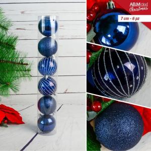 Tubo con n. 6 palline in plastica cm7  decorazioni assortite blu e argento