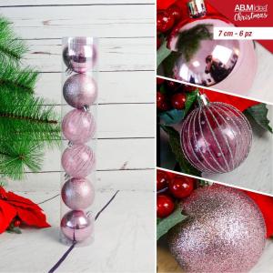 Tubo con n. 6 palline in plastica cm7 decorazioni assortite rosa