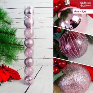 Tubo con n. 10 palline in plastica cm5 decorazioni assortite rosa