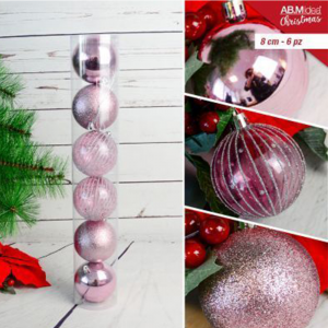 Tubo con n. 6 palline in plastica cm8 decorazioni assortite rosa