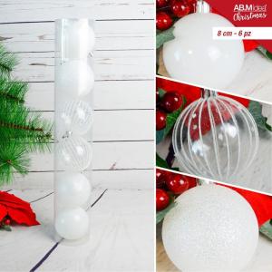 Tubo con n. 6 palline in plastica cm8 decorazioni assortite bianco