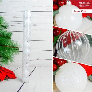 Tubo con n. 10 palline in plastica cm5 decorazioni assortite bianco