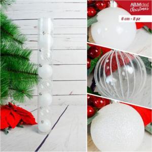 Tubo con n.8 palline in plastica cm6 decorazioni assortite bianco