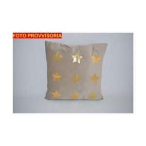 Due Esse Cuscino Natalizio Con Stelle Oro 45x45 cm Velbeige