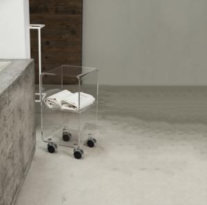 Carrello portaoggetti in cristallo acrilico con ruote Multy XS, Vesta Home-2