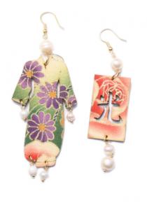 Orecchini Kimono Seta Grande Perla
