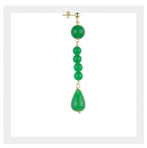 Orecchino Singolo Pietre Verde