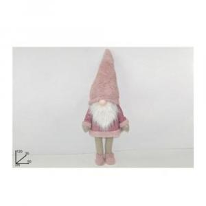 Due Esse Gnomo Natalizio Con Abito Rosa in Tessuto 120cm