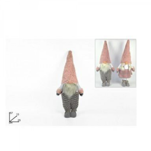 Due Esse Gnomo Natalizio con Cappello Rosa/Grigio 57cm Alzato