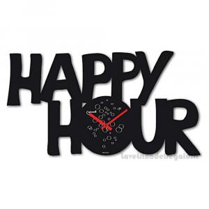 Orologio Nero da parete Lowell Happy Hour in metallo 44x38 cm - Idea Regalo