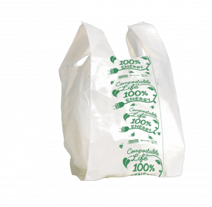 MAXI Shopper bianco compostabile formato shopper: 30+9+9x60 cm.