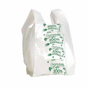 SUPER MAXI Shopper bianco compostabile formato shopper: 35+9+9x60 cm.