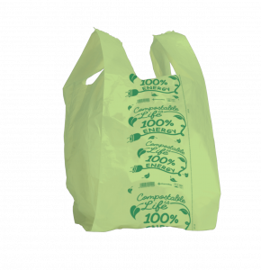 Shopper verde LIGHT compostabile formato shopper: 26+7+7x50 cm.