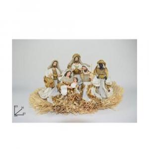 Due Esse Natività Su Giaciglio Di Paglia Con 6 Personaggi 23 cm Rifinitura in Oro