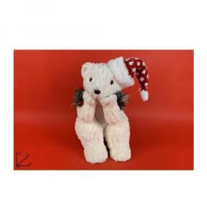 Due Esse Orso Seduto con Pelliccia e Tessuto Glitterato 32 cm