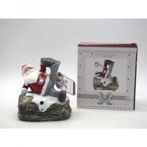 Babbo Natale In Resina su Tronco H.14X13X18CM. con Musica