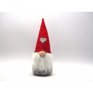 Babbo Natale Peluche Con Cappello Rosso e Cuore Grigio H30cm