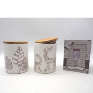 Barattolo In Ceramica Con Disegno In Rilievo e Tappo in Legno H13xD9.5 cm