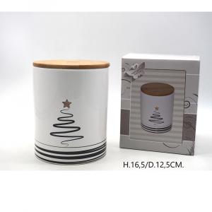 Barattolo Ceramica Decalco Con Disegno Albero Nero  H.16,5/D.12,5CM. Con Tappo Legno