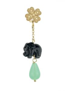 Orecchino Singolo Quadrifoglio Elefante
