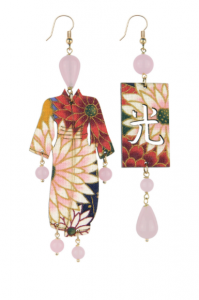 Orecchini Kimono Seta Grande Rosa
