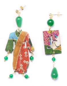 Orecchini Kimono Seta Piccolo Verde