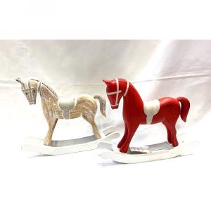 Cavallino a Dondolo In Legno Rosso o Panna