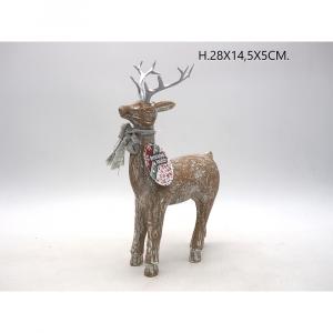 Cervo Natalizio In Legno Sbiancato Con Fiocco e Corna Argentate H28x14.5x5 cm
