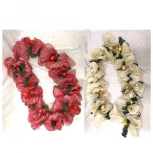 Filo Decorativo In  Tessuto Con Aghi di Pino e Palline con Colori Assortiti  200cm