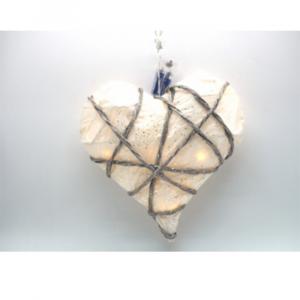 Cuore di Carta con Intreccio Di Rami Glitterati con 15 Luci Calde Diametro 30cm