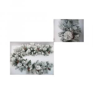 Filo Ghirlanda Verde Innevato Con 220 Rami e Composizioni di 12 Bacche e Pigne L 270cm Diametro 40 cm