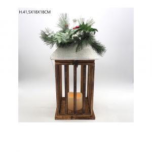 Lanterna Legno Nevata Con Vischio e Candela Led Bianco Caldo H41.5x18x18 cm