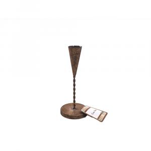 Portacandela in Metallo Effetto oro Brunito H19.3x8.5x8.5cm