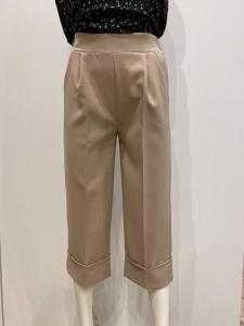 RINASCIMENTO CFC98286 Pantalone cropped con risvolto al fondo e pences