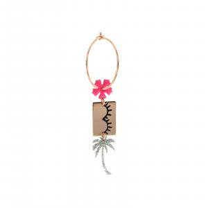 Mono Orecchino a Cerchio con Fiore, Ciglia e Palma