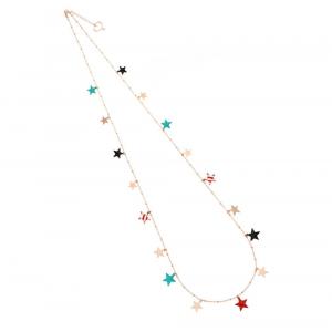 Collana con diciassette stelle smaltate e in oro rosa