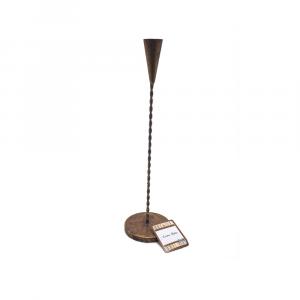 Portacandela in Metallo Effetto Oro Brunito H39x9x9 cm