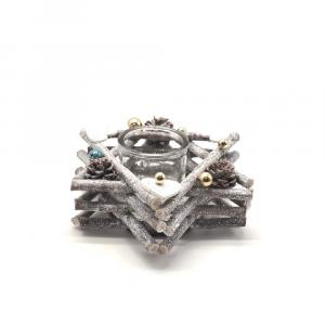 Portacandela Forma Stella in Legno con Rami Bianchi e 1 Vetro D 9.5 cm