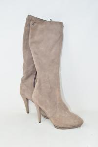Boots Tall Suede Beige Woman I Drive Scariglia N° 39,heel 12 Cm