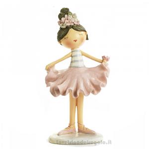 Statuina Ballerina con corona di rose in resina 12.7x25 cm - Bomboniera comunione bimba