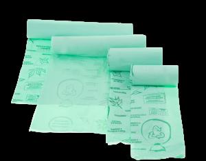 Sacco immondizia compostabile formato : 22x20x40 cm.