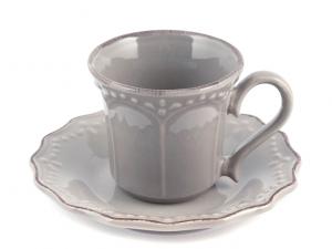 Tazza caffè ceramica grigia con piattino