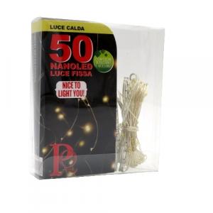 Filo trasparente 50 piccole lampadine luce calda a batteria