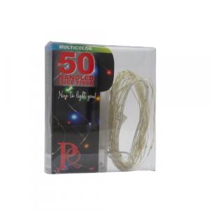 Filo trasparente 50 piccole luci colorate 5m a batterie